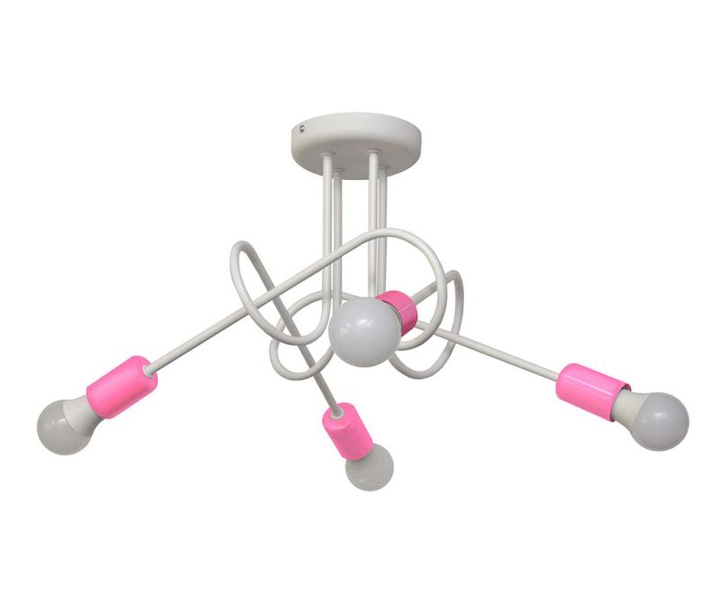 Stropna svetilka Oxford Oda Four White Pink