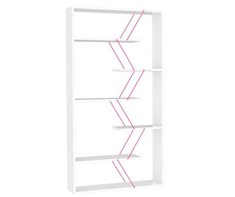 Knjižni regal Tars White Pink