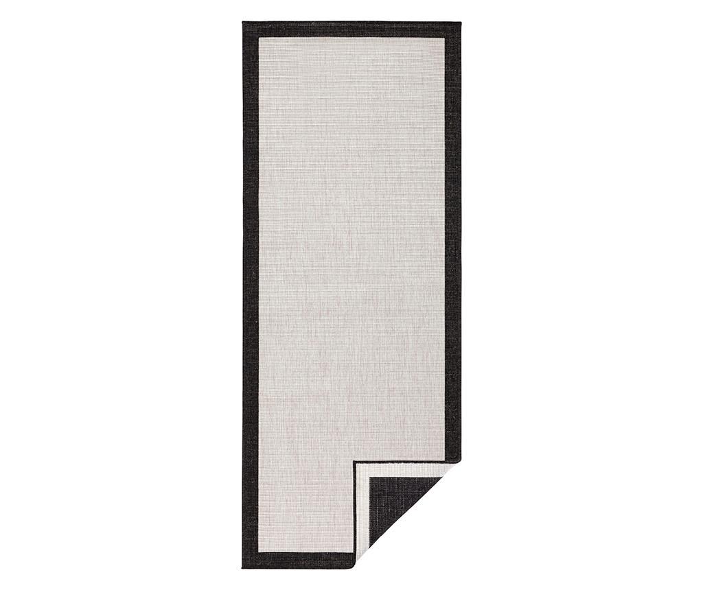 Reverzibilni tepih Panama Black Cream 80x350 cm