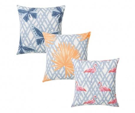Zestaw 3 poduszek dekoracyjnych Summer Flamingo 45x45 cm