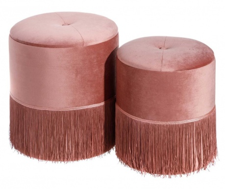 Zestaw 2 taboretów Fringes Pink