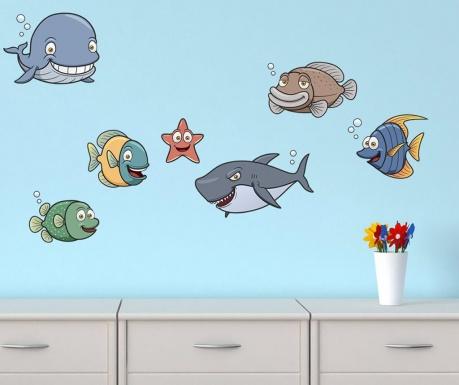 Sada 7 samolepiek Fish