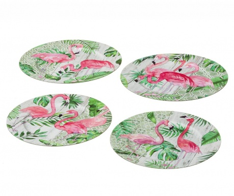 Zestaw 4 pater jednorazowych Flamingo Party