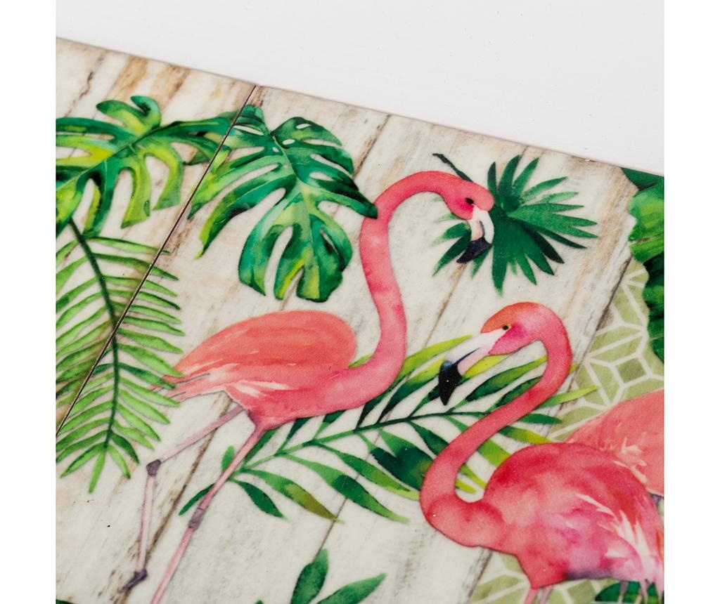 Sada 2 servírovacích podnosů Flamingo Party