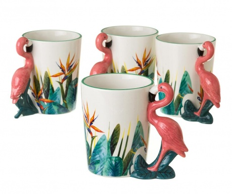 Set 4 skodelic Flamingo 400 ml