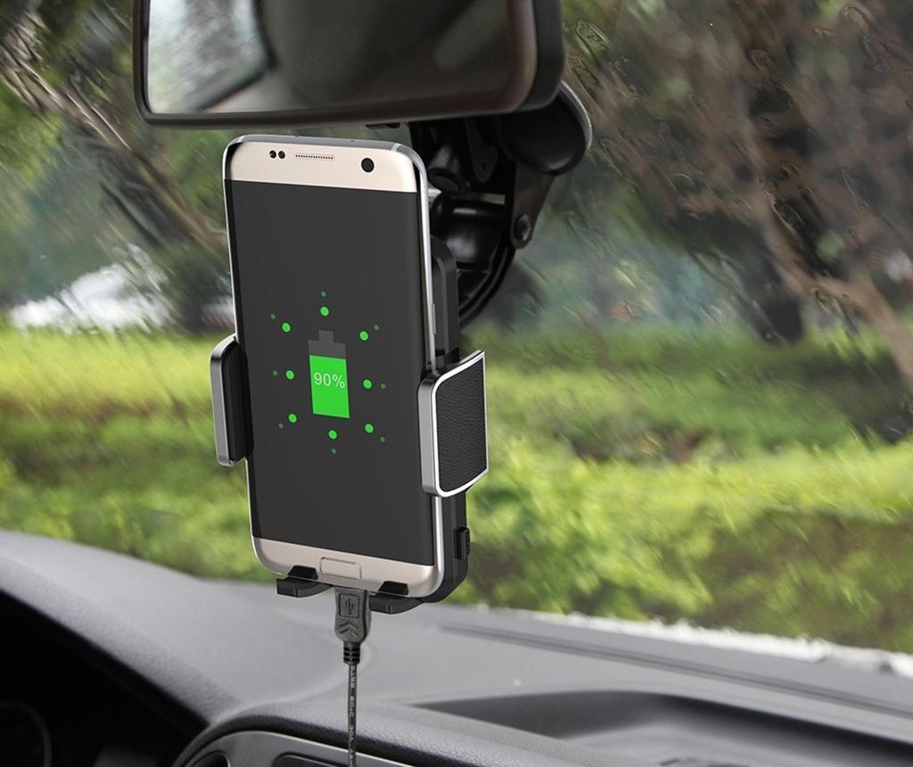 Suport cu incarcator auto wireless Akashi Fast Charges