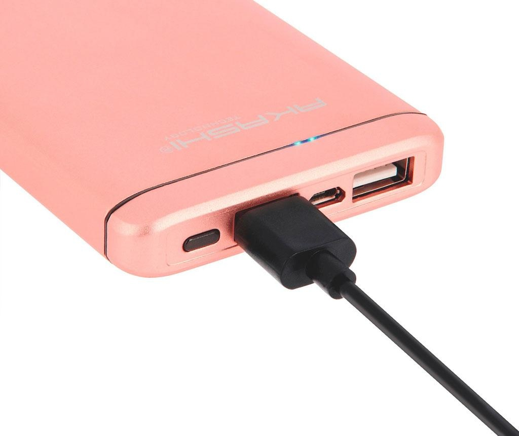 Akashi Slim Alum 2xUSB Pink Külső akkumulátor
