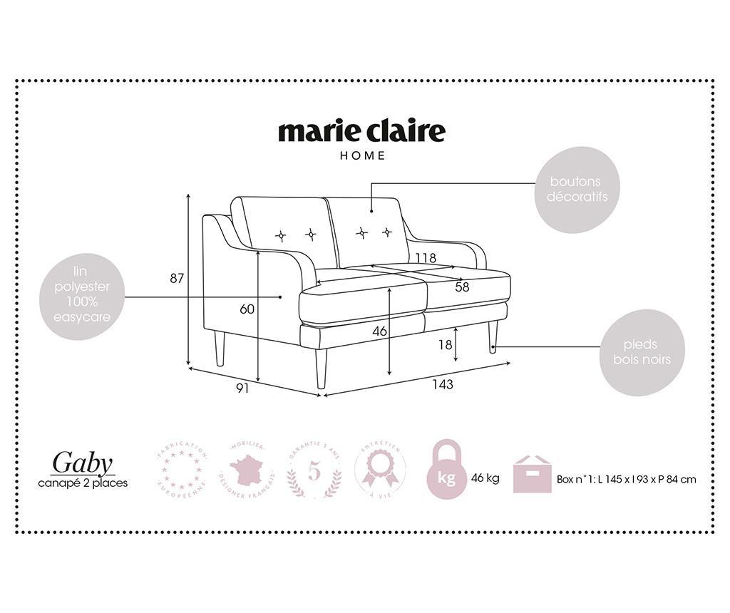 Gaby Grey Kétszemélyes kanapé