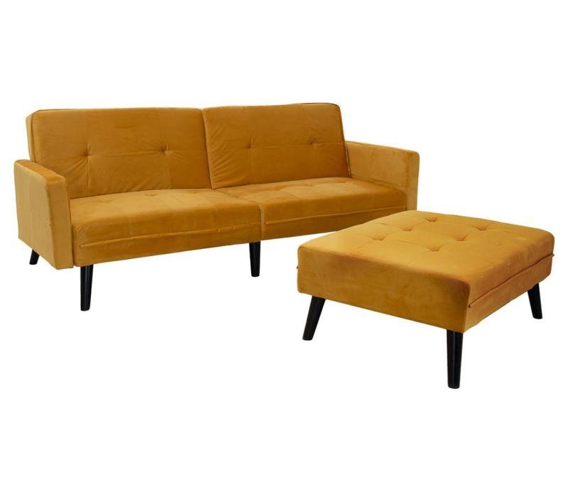 Set - raztegljiv kavč in pručka za noge Dream Yellow