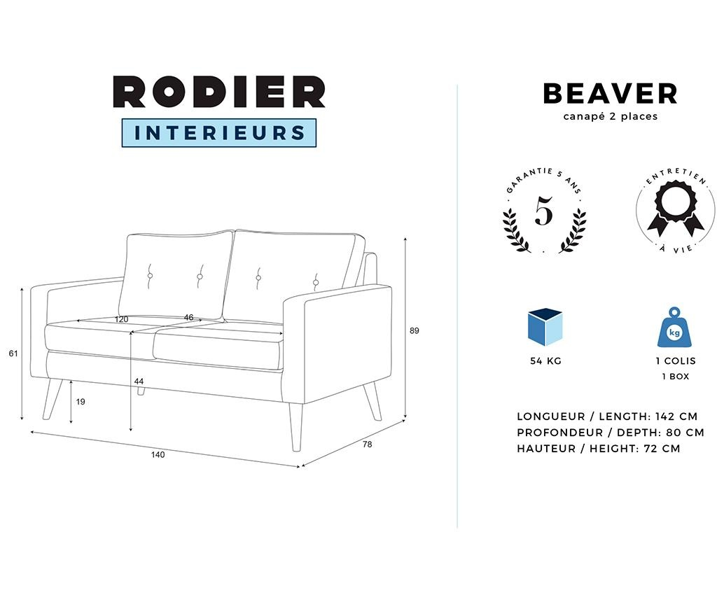 Canapea 2 locuri Beaver Lilac
