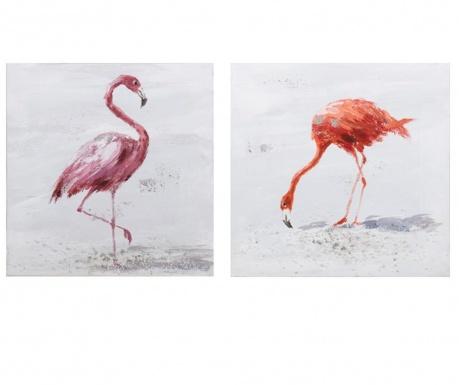 Sada 2 obrazov Flamingo 30x30 cm