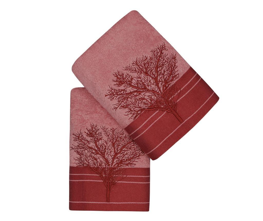Sada 2 ručníků Life Tree Light Rose 50x90 cm