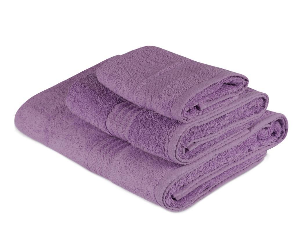 Set 3 prosoape de baie Rainbow Purple