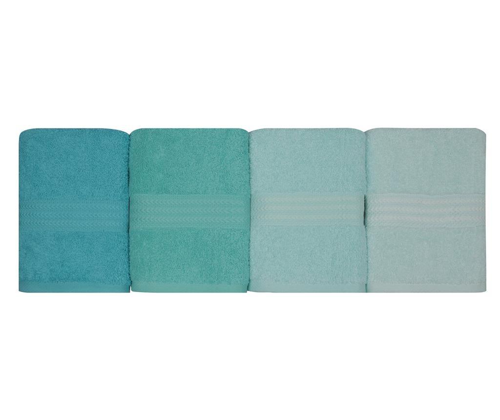Set 4 kopalniških brisač Rainbow Water Green 50x90 cm