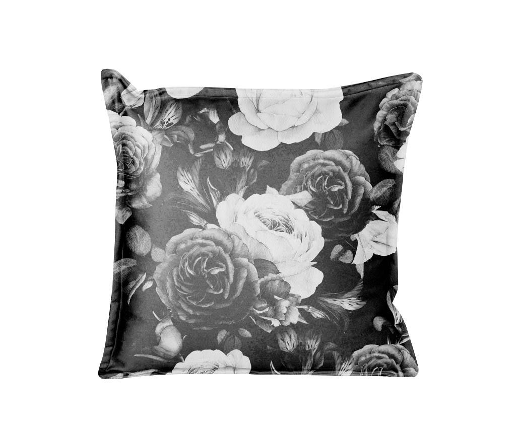 Perna decorativa Black and White Flowers 45x45 cm