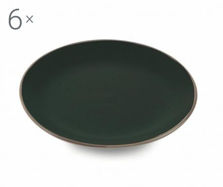 Sada 6 mělkých talířů Kora Black