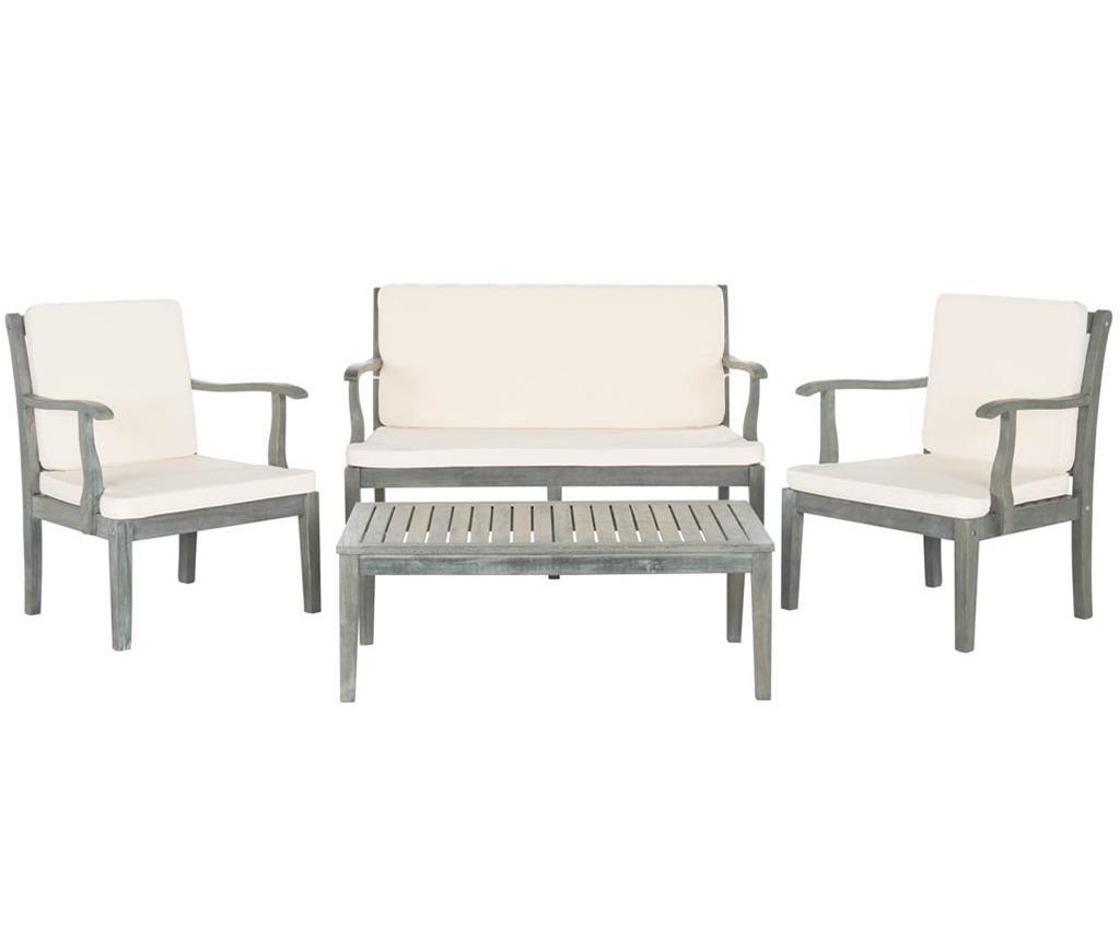 Zestaw stół z 2 krzesłami i ławka zewnętrzna Monaco