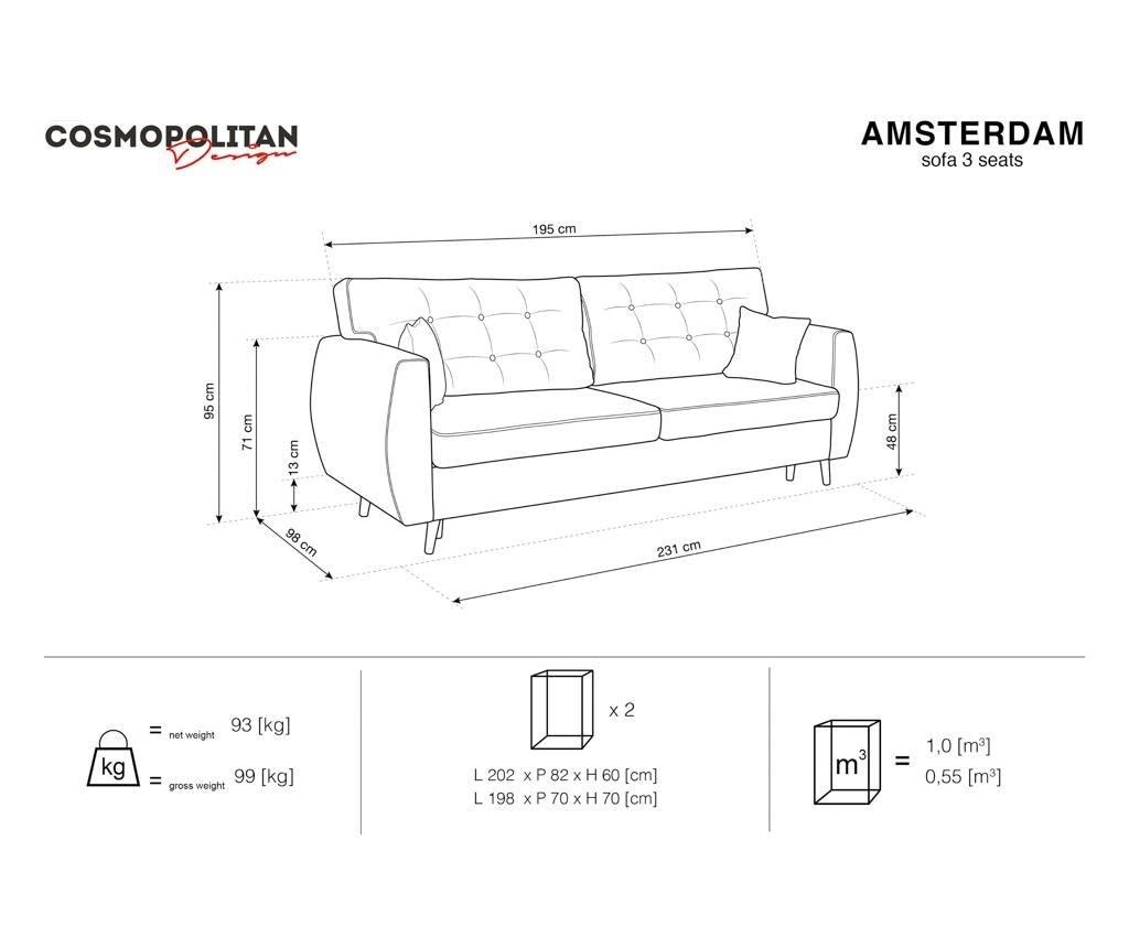 Rozkládací 3 místná pohovka Amsterdam Dark Blue