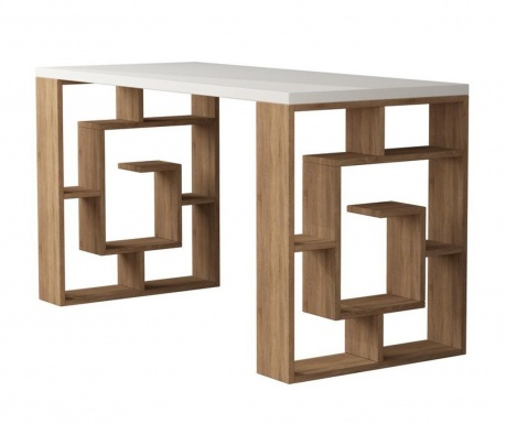 Písací stôl Maze White and Oak