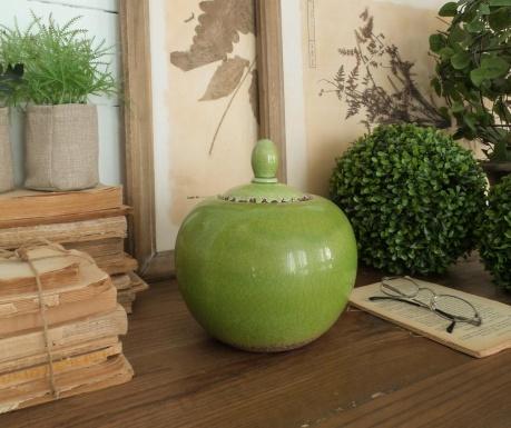 Vas decorativ cu capac Green Antique Round 20 Cm
