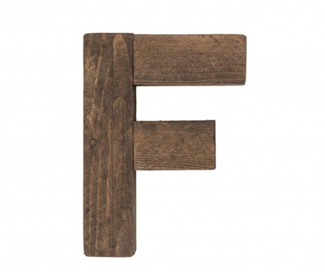 Decoratiune Letter F Brown Wood