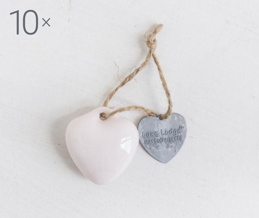 Set 10 decoratiuni suspendabile Heart Pink