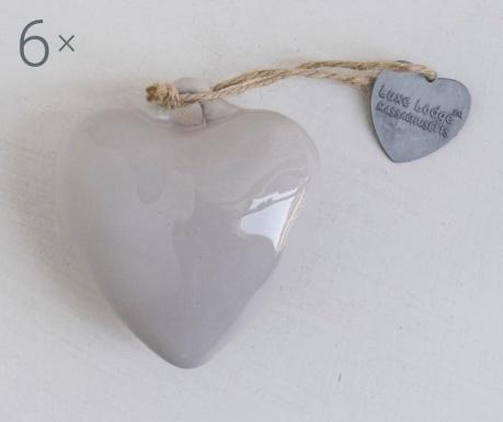 Set 6 decoratiuni suspendabile Heart Light Grey