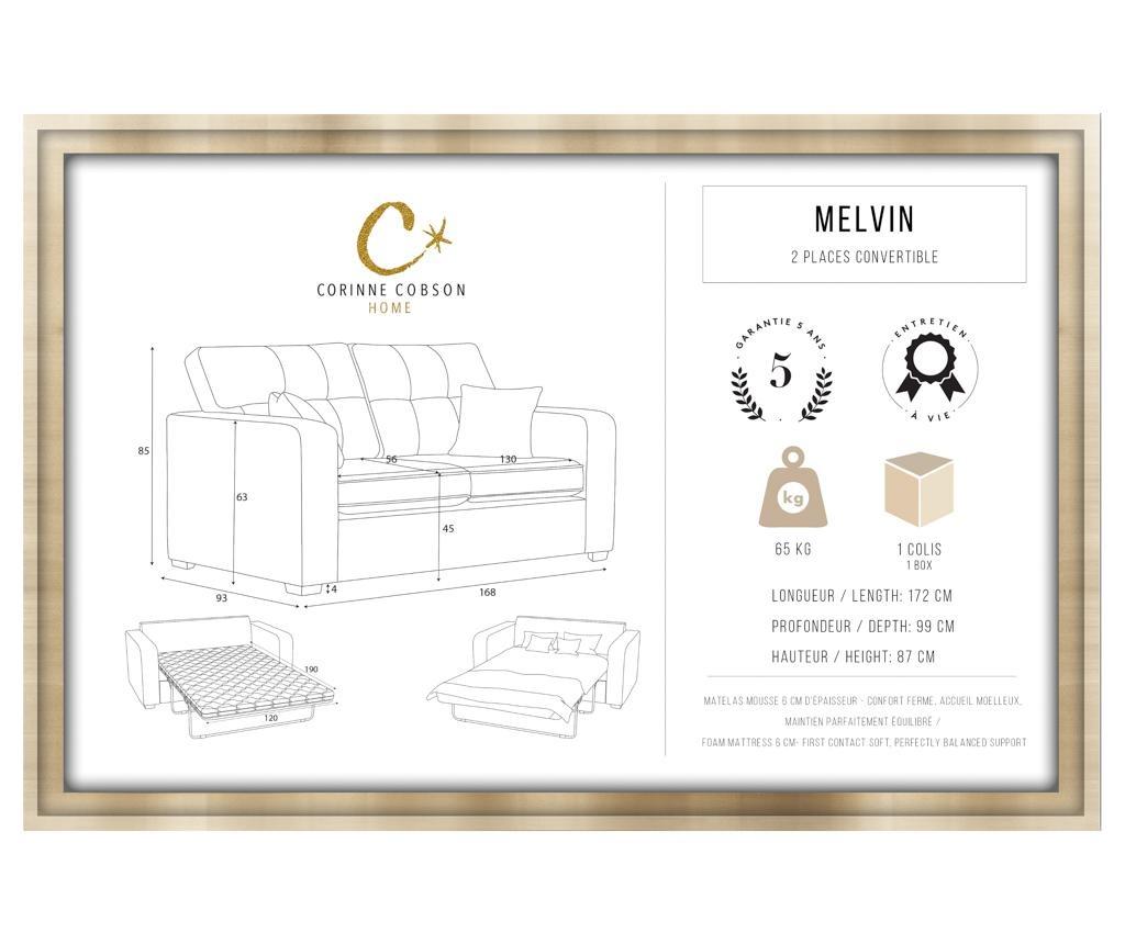 Kauč dvosjed na razvlačenje Melvin  Grey