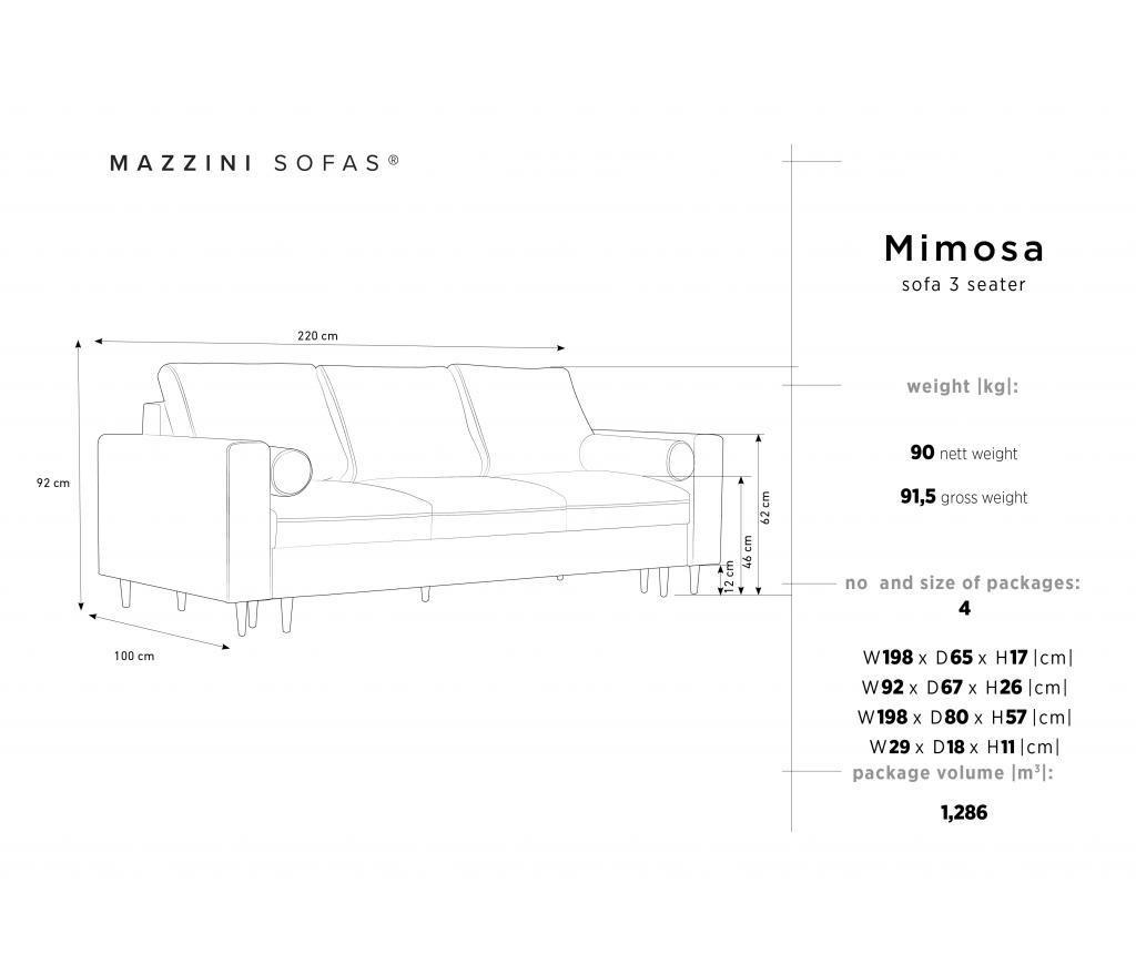 Canapea extensibila 3 locuri Mimosa Bottle Green
