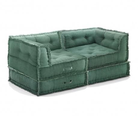 Sada 2 sedacích pufů a 2 podlahových polštářů Mecas Green