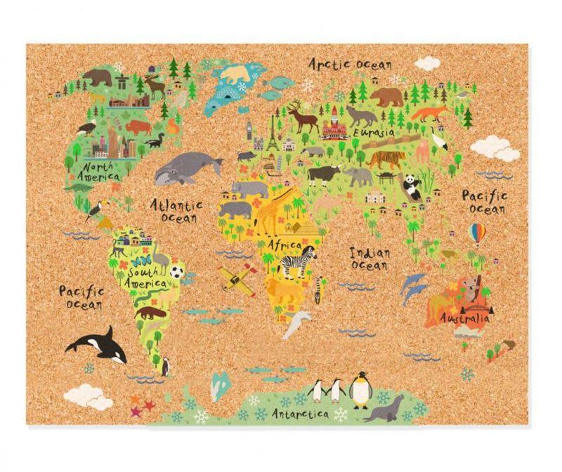 Memo tabla World Map Animals