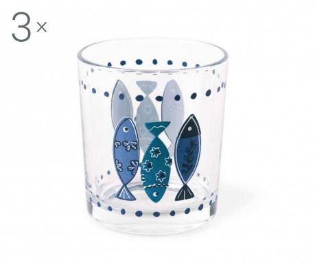 Set 3 pahare pentru apa Ocean Blue 220 ml