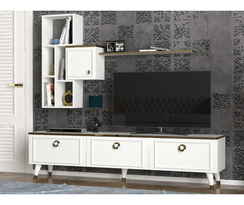 Set comoda TV si corp cu rafturi Kornelya