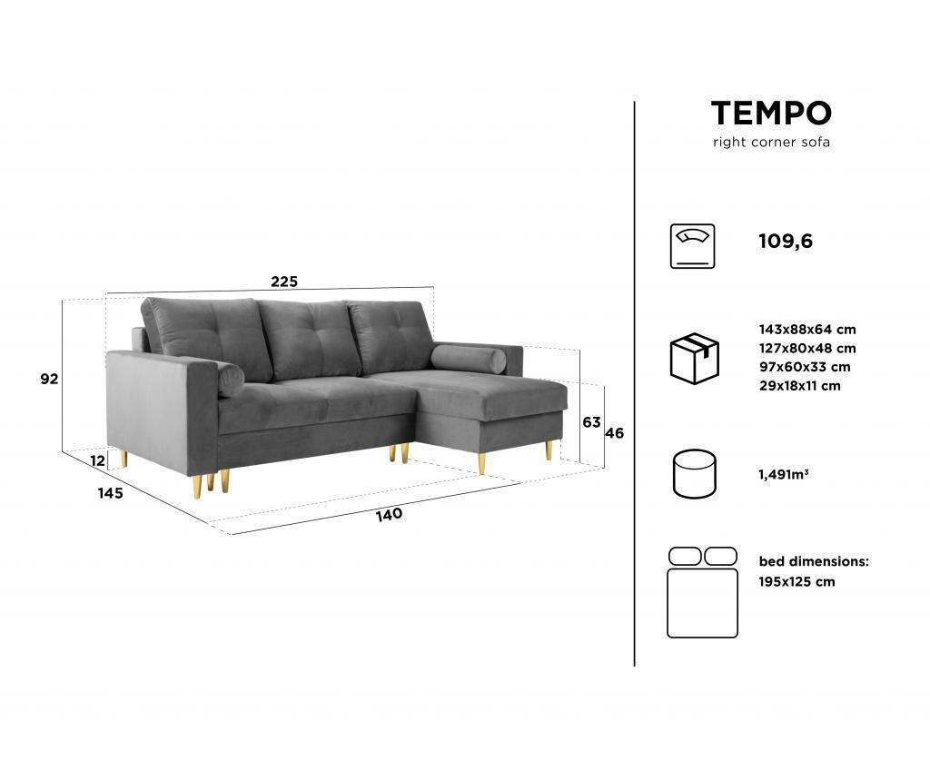 Reverzibilna raztegljiva kotna sedežna garnitura Tempo Royal Blue