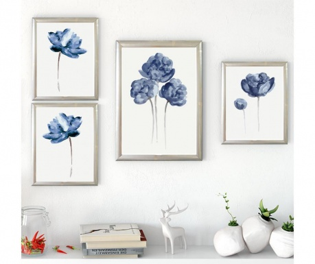 Σετ 4 πίνακες Flowers