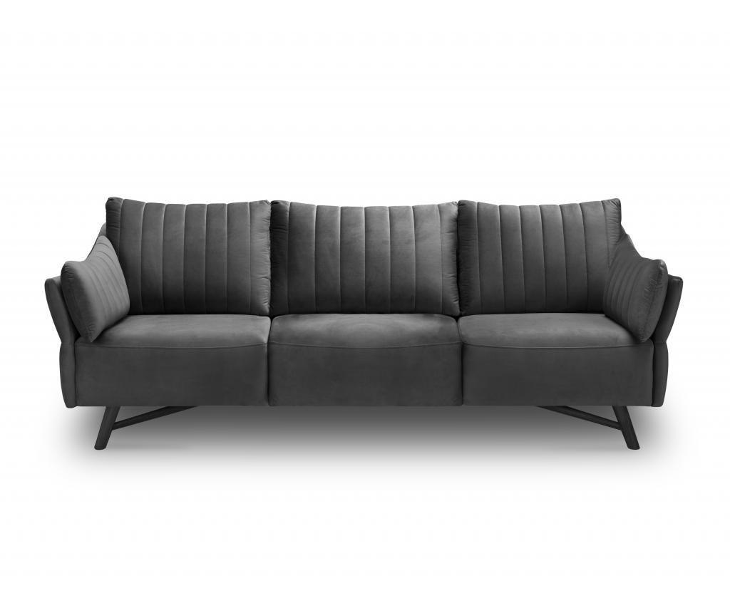 Canapea 3 locuri Louvres Dark Grey