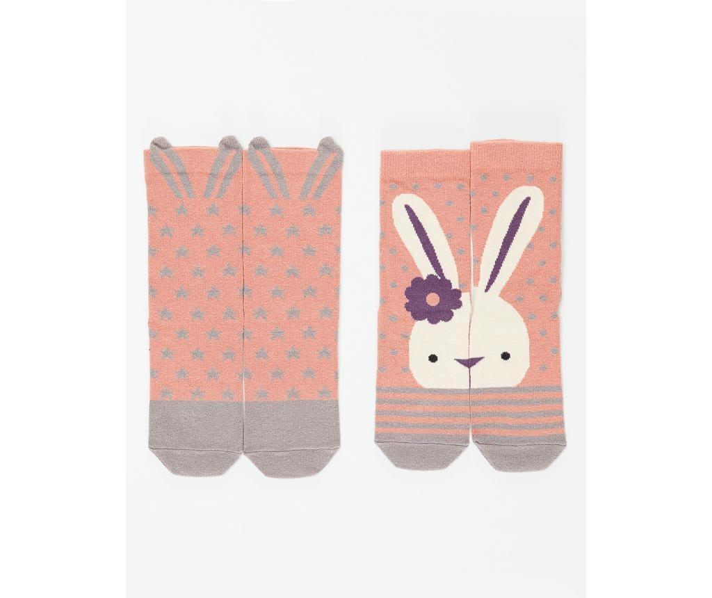 Set 2 perechi de sosete copii Bunny&Stars 6-7 years
