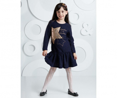 Rochie copii Shinny Star Navy 4 ani