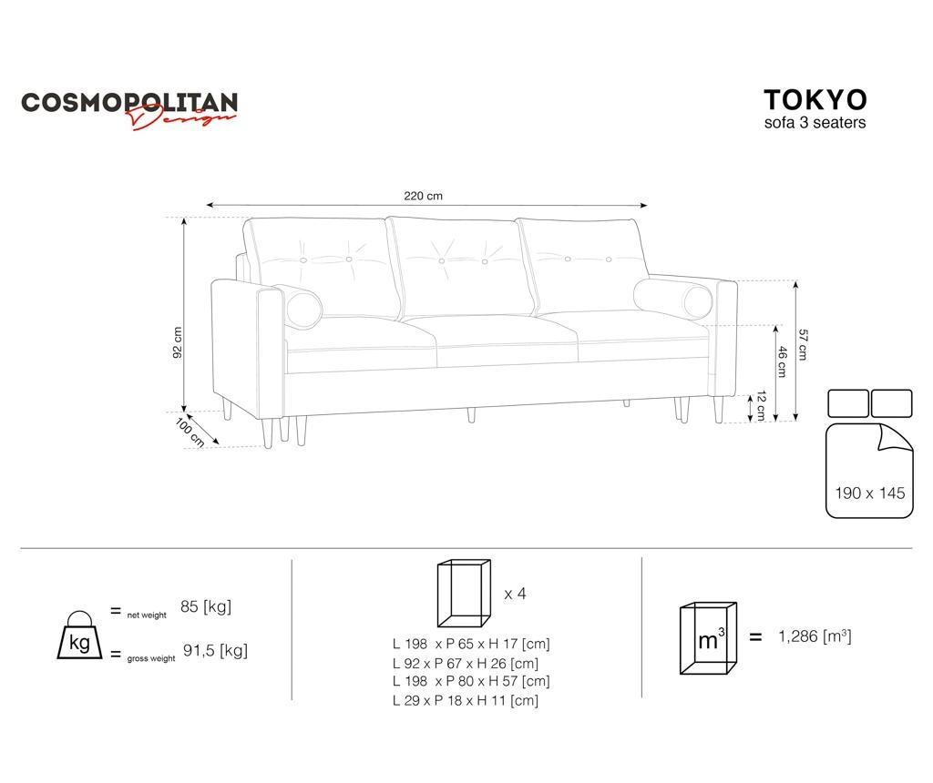 Tokyo Gold Háromszemélyes kihúzható kanapé