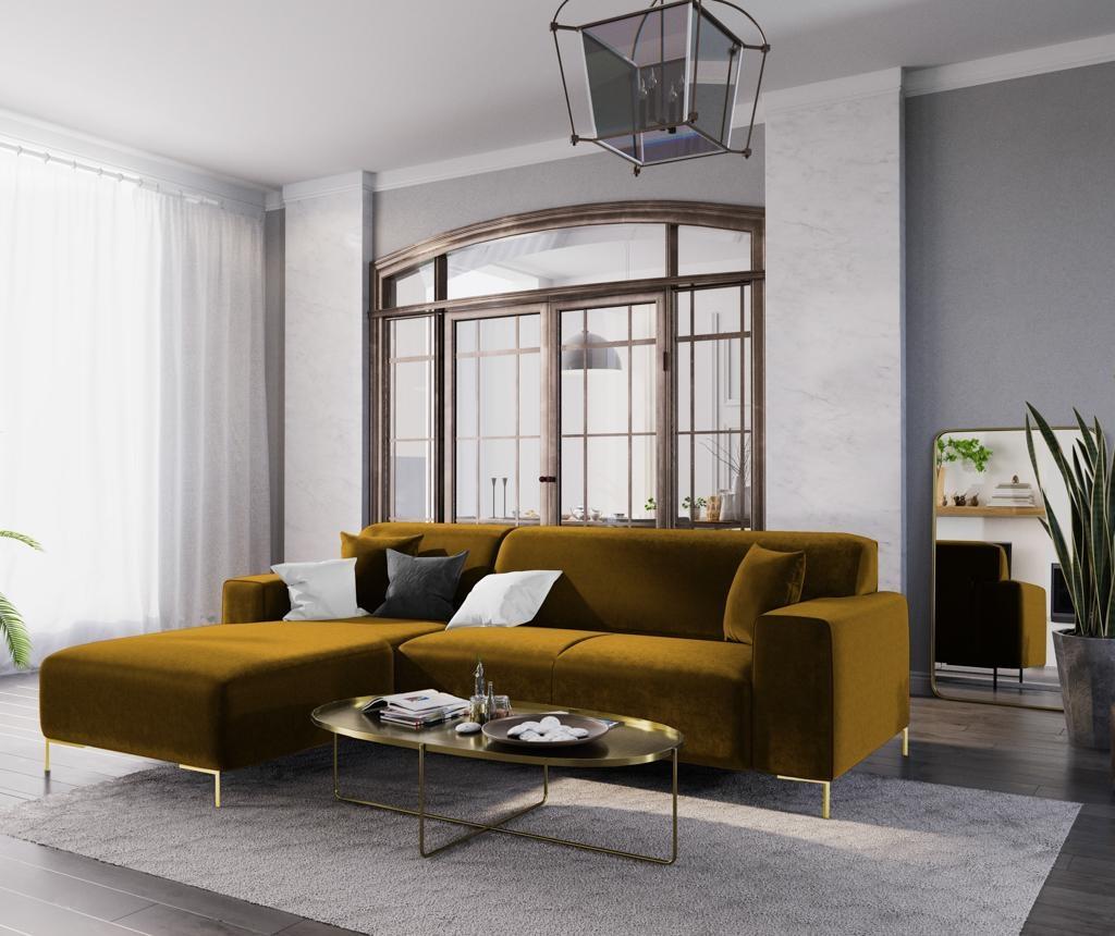 Ljeva kutna sofa četverosjed Modena Gold