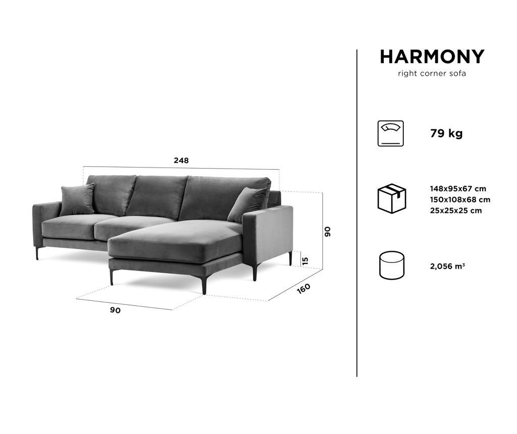 Harmony Grey Négyszemélyes jobboldali sarokkanapé