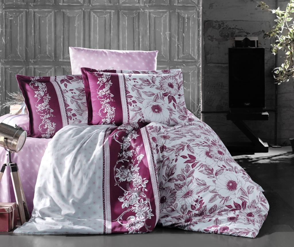 Set posteljina King Satin Supreme Mocha Bordeaux