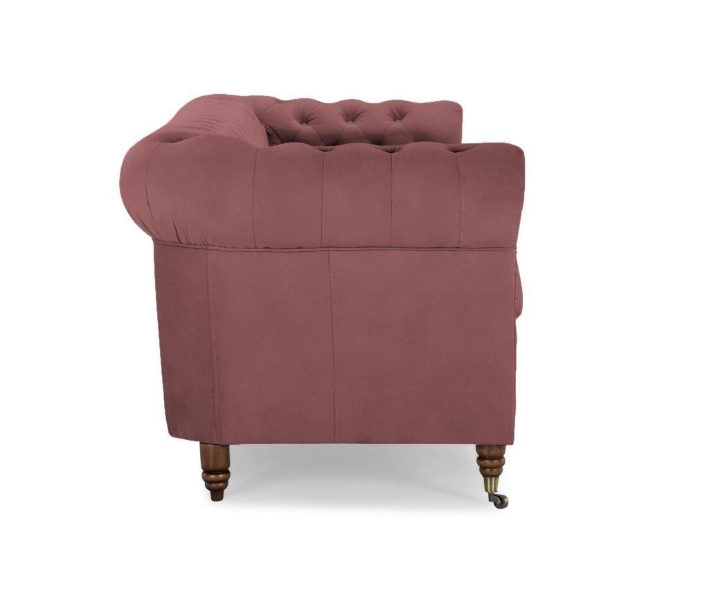 Chesterfield Rust Pink Velvet Négyszemélyes kanapé
