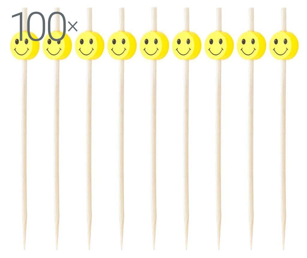 Zestaw 100 wykałaczek  do przekąsek Smiley