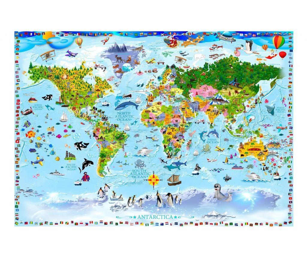 World Map For Kids Fotótapéta 140x200 cm