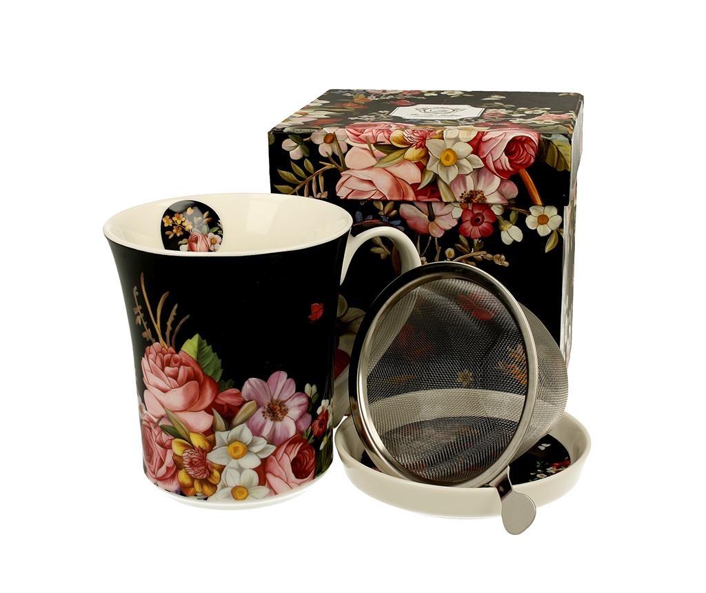 Vintage Flowers Bögre fedővel és szűrővel 330 ml