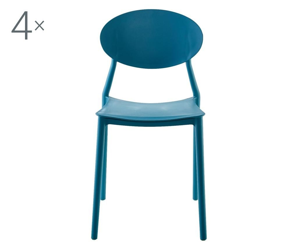 Set 4 scaune Oval Turquoise