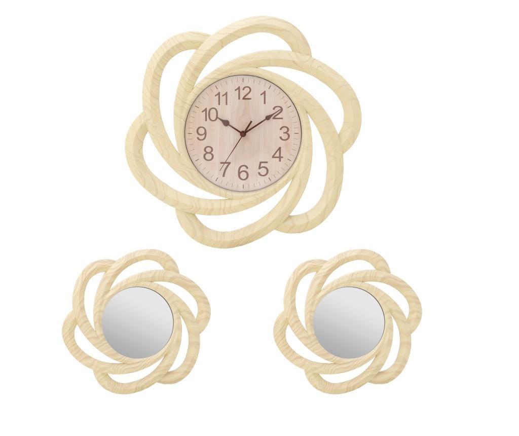 Set ceas de perete si 2 oglinzi Creme