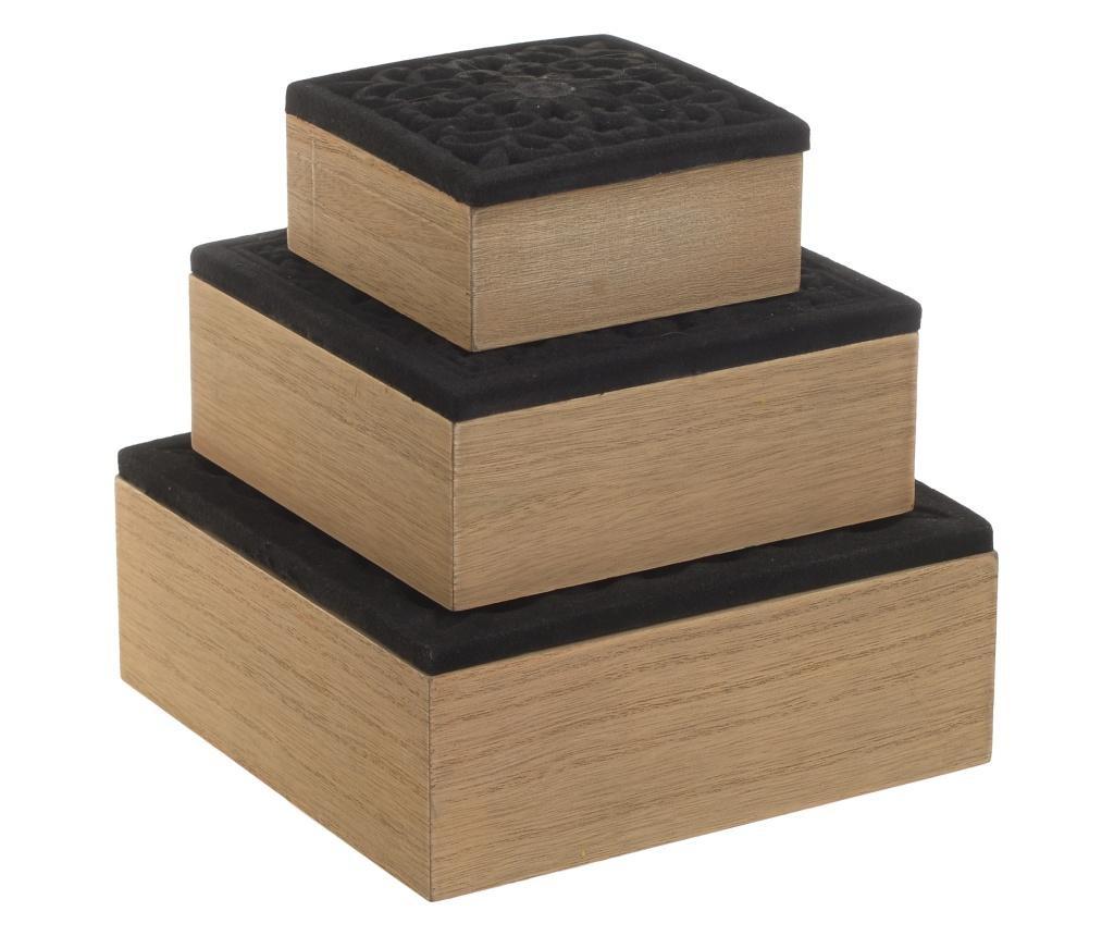 Set 3 cutii cu capac Wooden Velvet