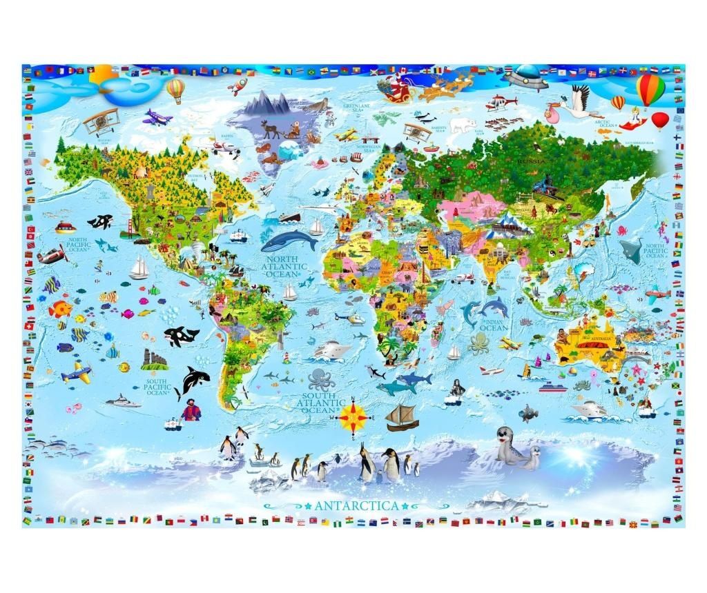 World Map For Kids Fotótapéta 70x100 cm